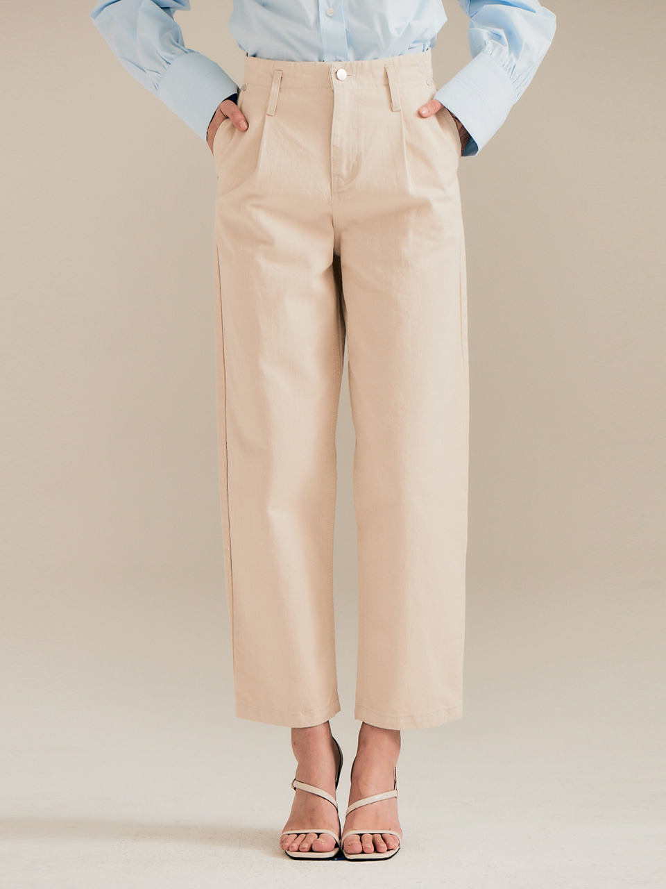Wide tuck pants_beige