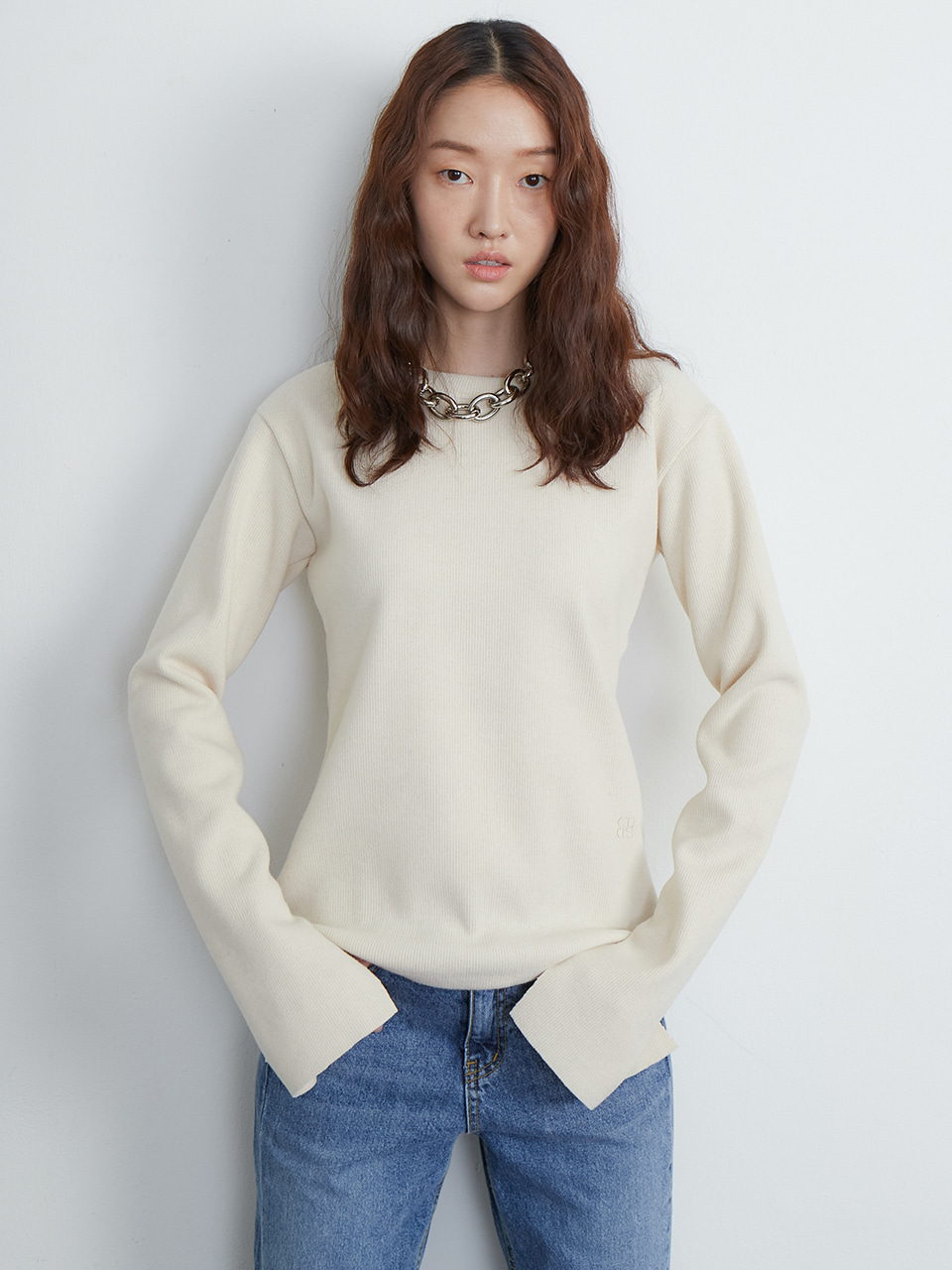 Slit knit top_ivory