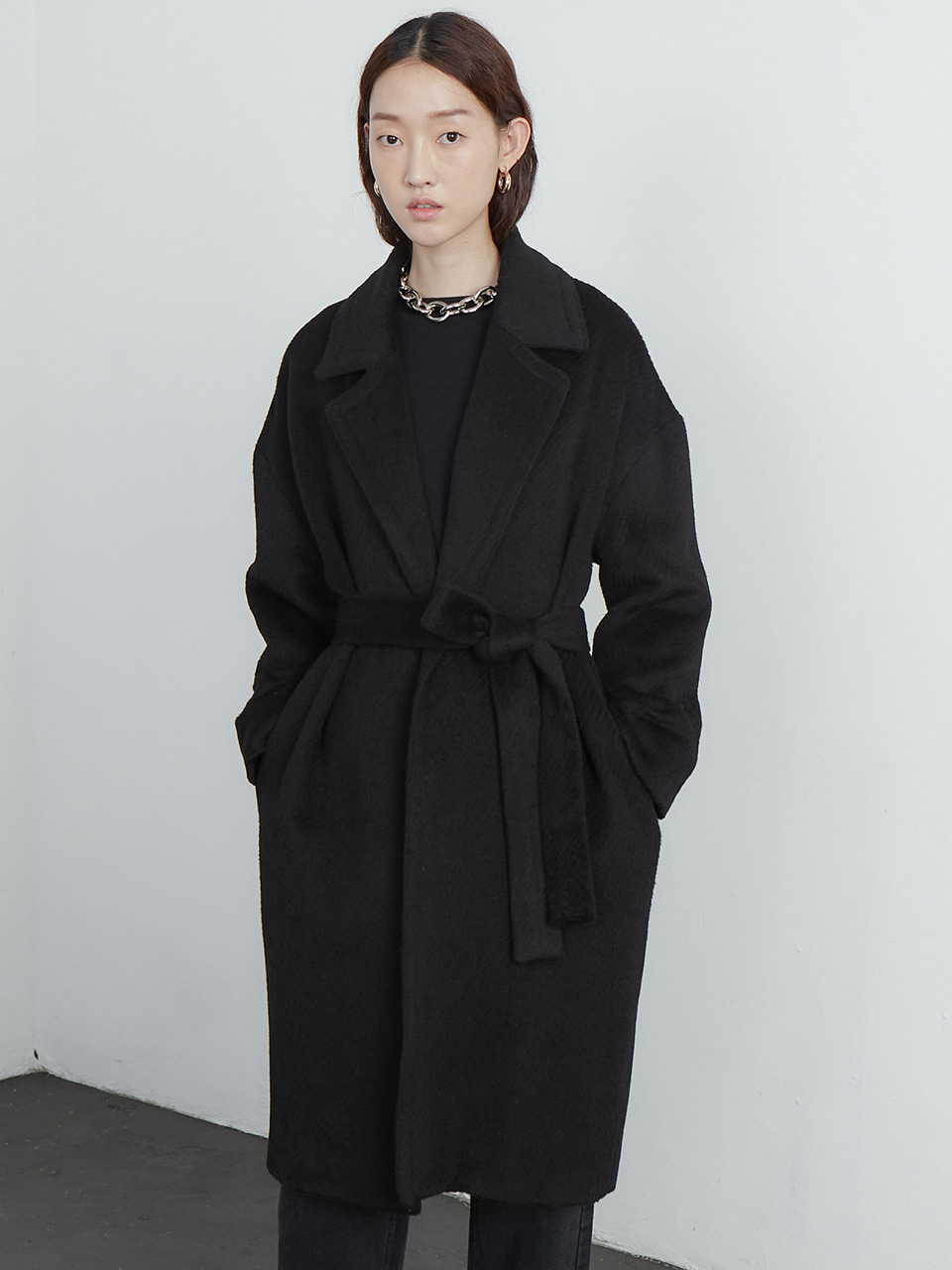 Alpaca robe coat_black
