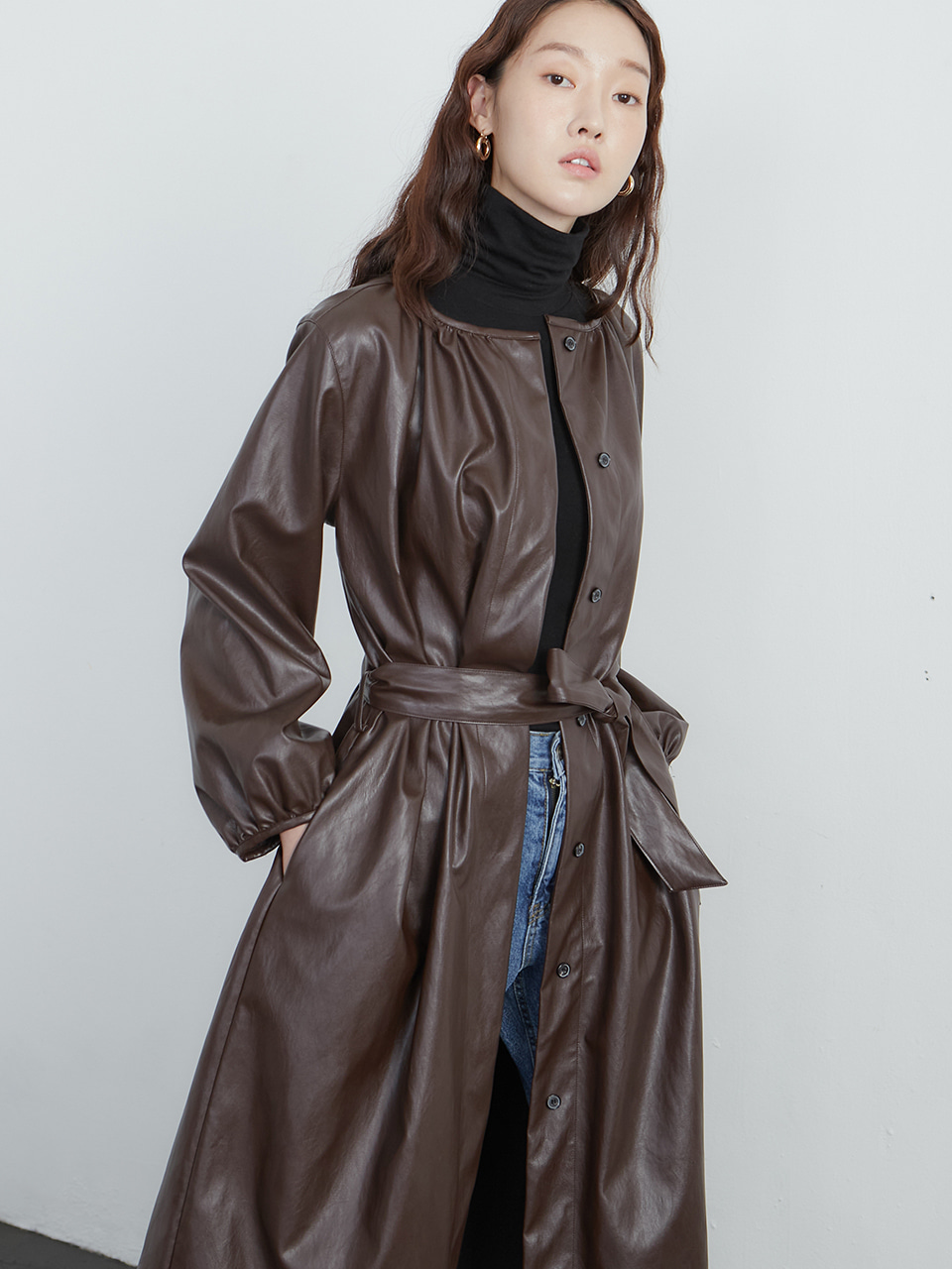 Shirring one-piece coat_brown leather