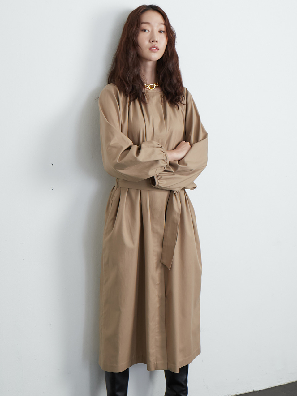 Shirring one-piece coat_beige