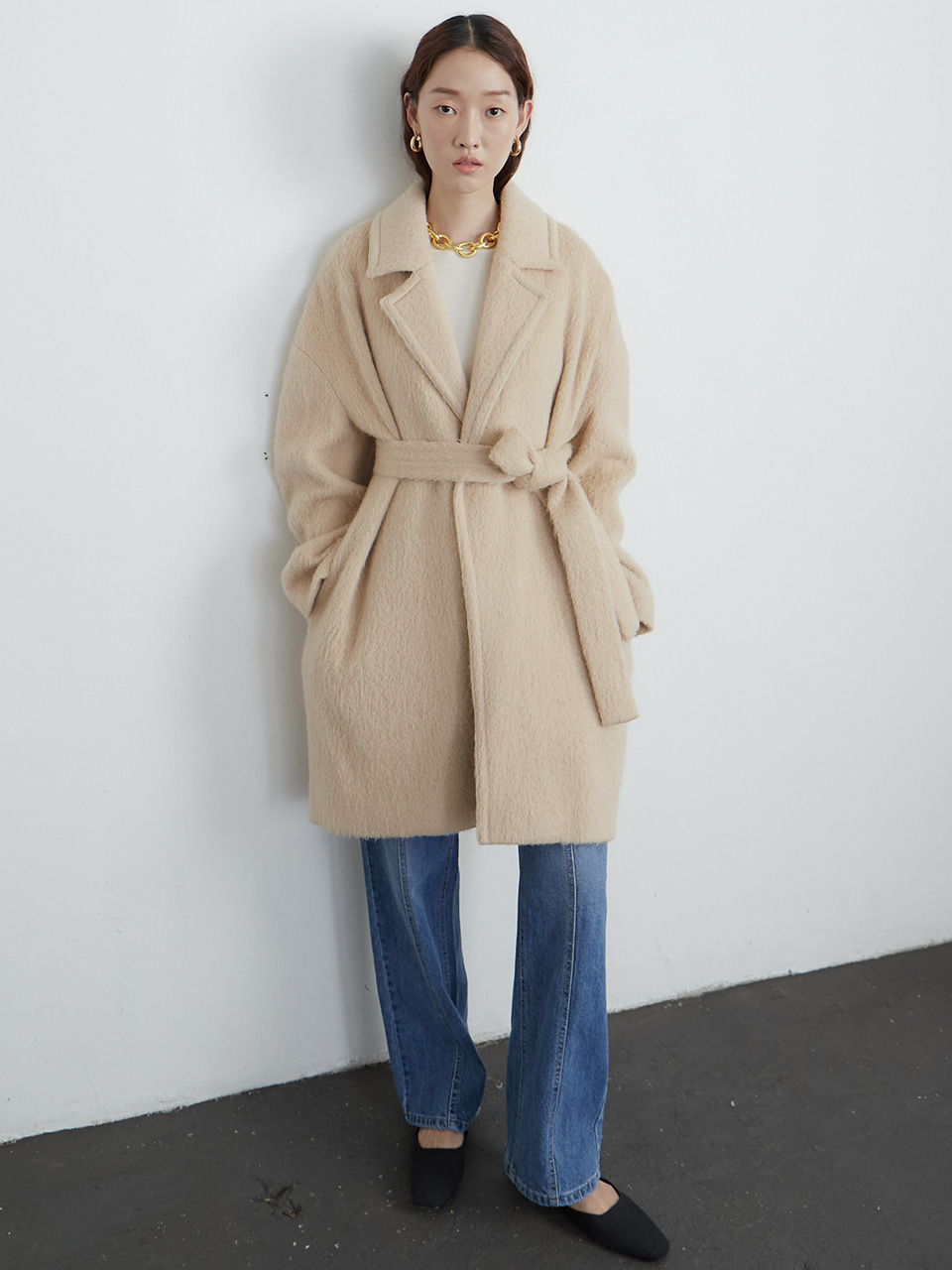 Alpaca robe coat_light beige