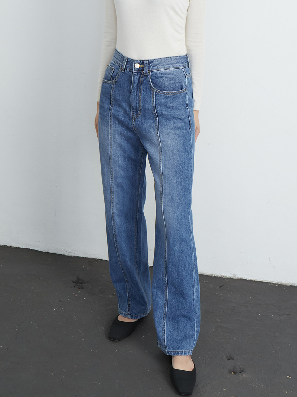 Front seam denim