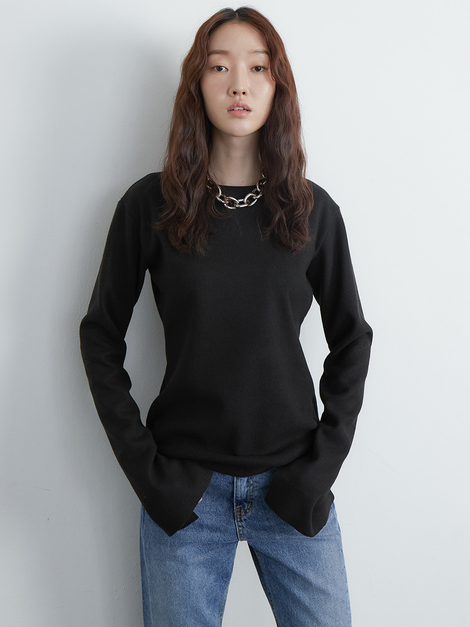 Slit knit top_black