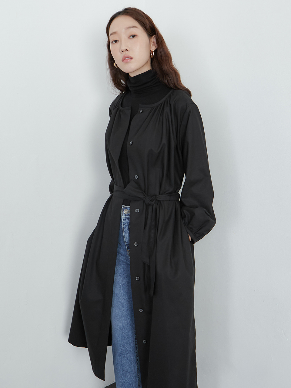 Shirring one-piece coat_black