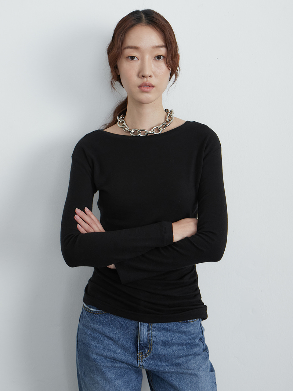 Wool knit top_black